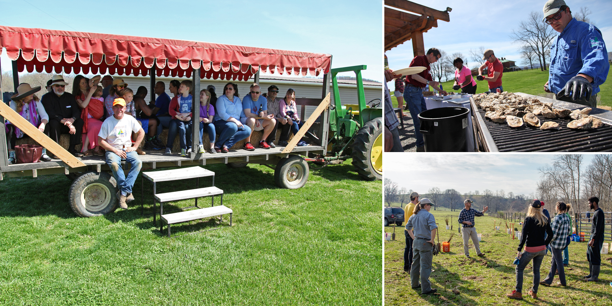 People on hay ride, oysters on grill, people on field listening to talk